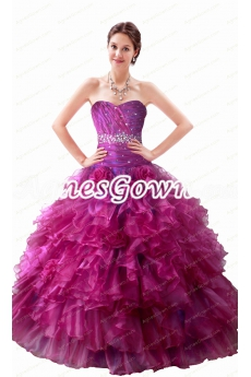 Pretty Fuchsia And Lavender Organza Quinceanera Dresses
