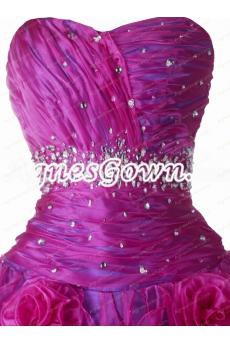 Pretty Fuchsia And Lavender Organza Quinceanera Dresses