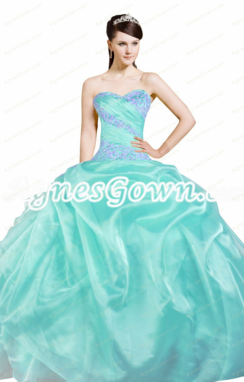 Beautiful Aqua Organza Ball Gown Quinceanera Dress With Lilac Handwork