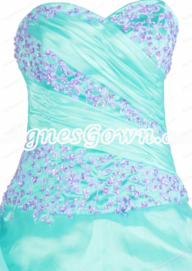 Beautiful Aqua Organza Ball Gown Quinceanera Dress With Lilac Handwork