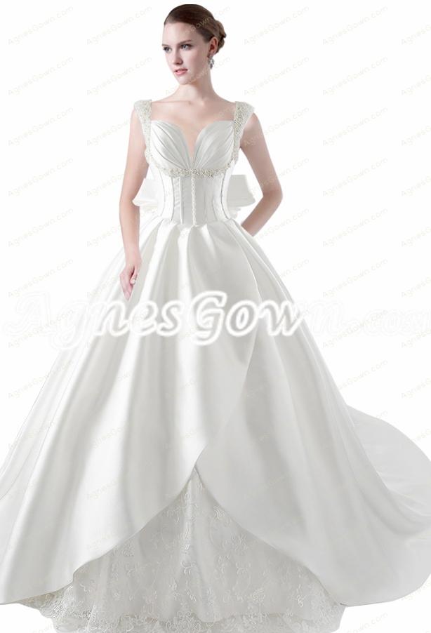 Breathtaking Big Train Straps Satin Wedding Dress With Pearls