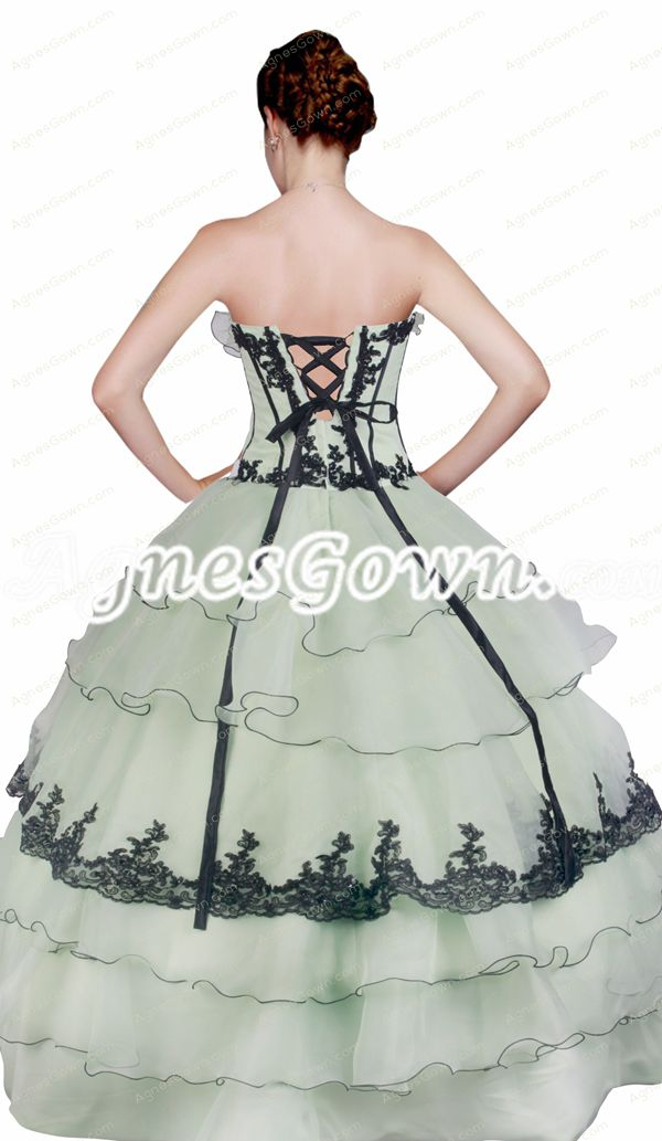 Classy 2016 Sage And Black Ball Gown Quinceanera Dress Corset Back