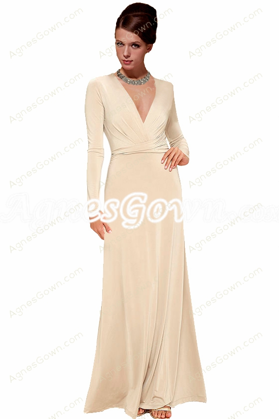Deep V-Neckline Full Sleeves Champagne Mother Of The Bride Dress