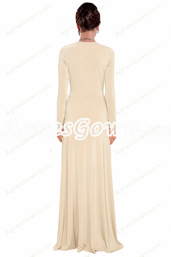 Deep V-Neckline Full Sleeves Champagne Mother Of The Bride Dress