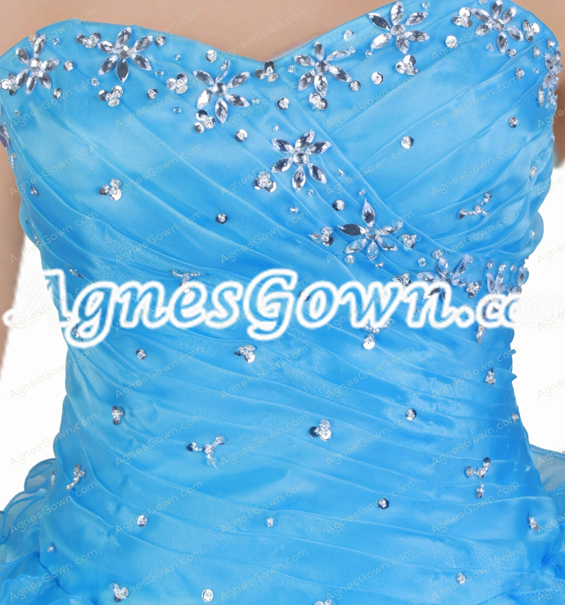Dropped Waist Organza Blue Quinceanera Dress With Multi Layered