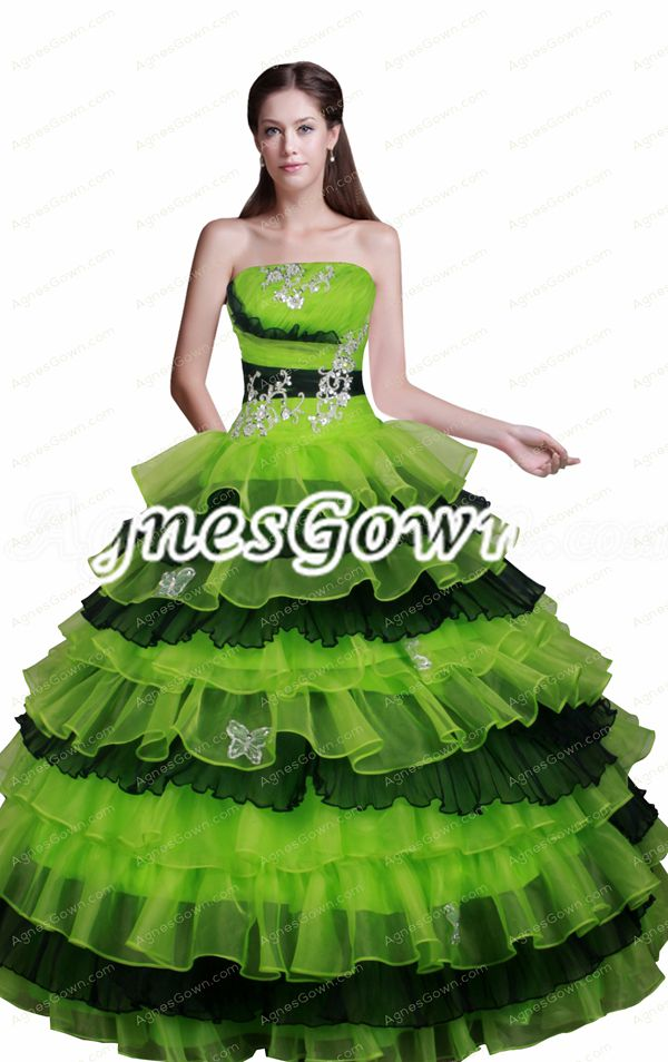 Emerald Green And Black Organza Ball Gown Quinceanera Dress 2016