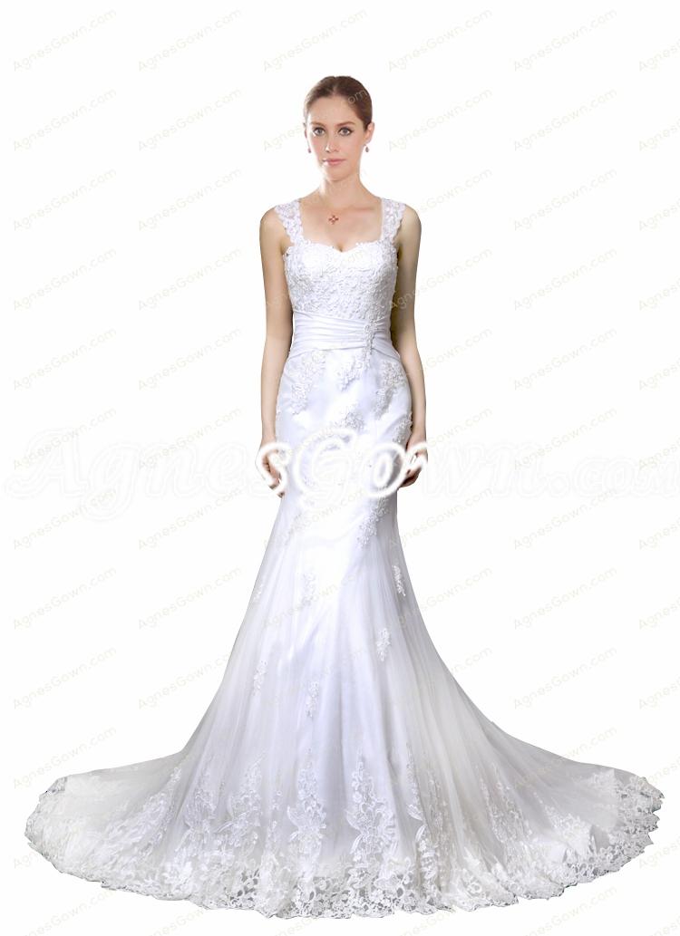 Illusion Back Mermaid Lace Wedding Dress 2017