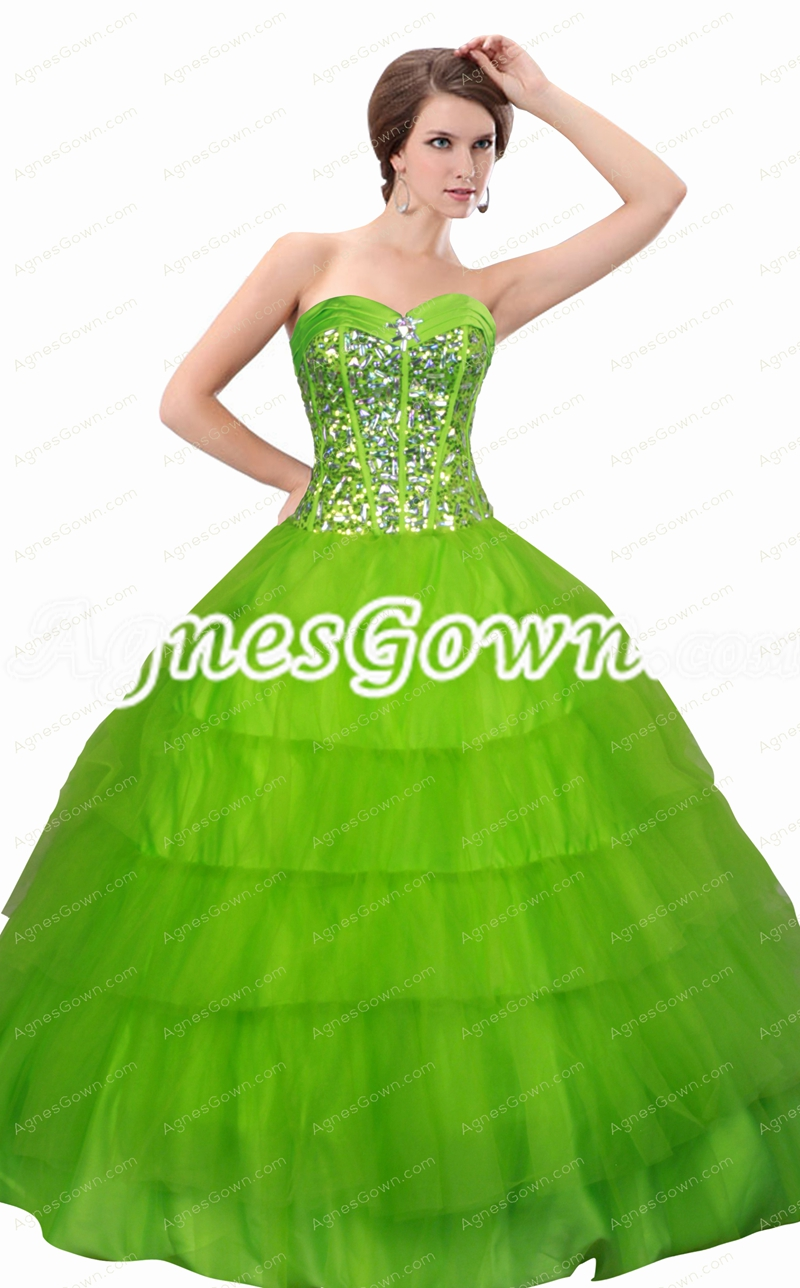Lovely Sweetheart Neckline Green Jeweled Quinceanera Dress 2016