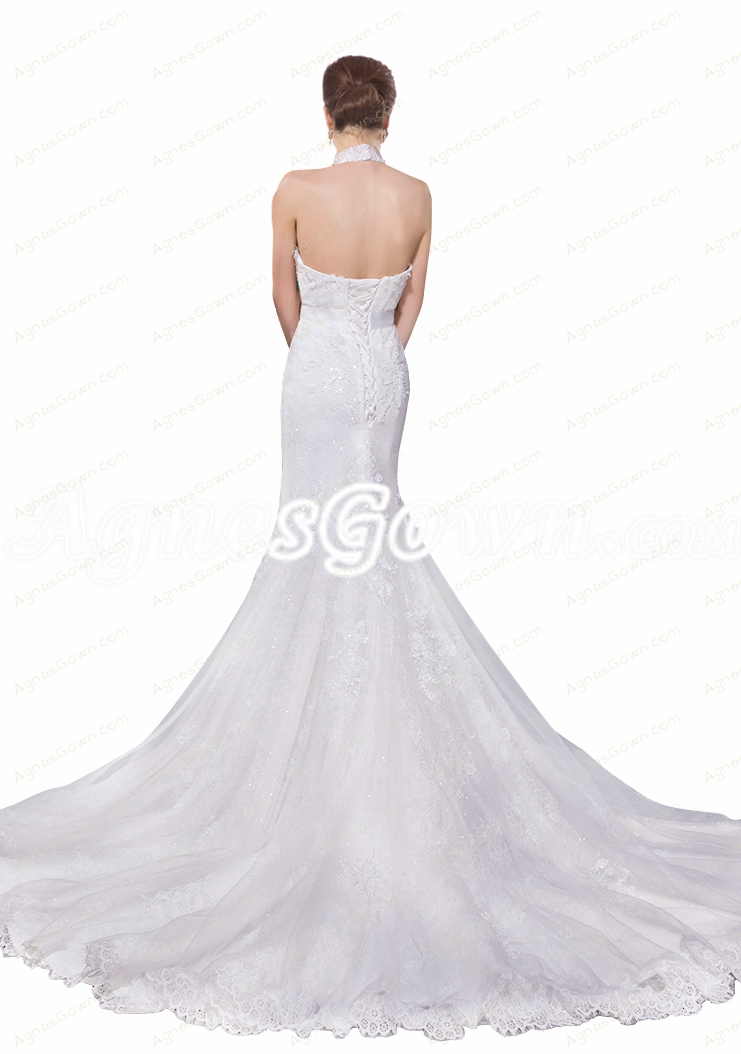 Top Halter Corset Back Mermaid/Trumpet Wedding Dress
