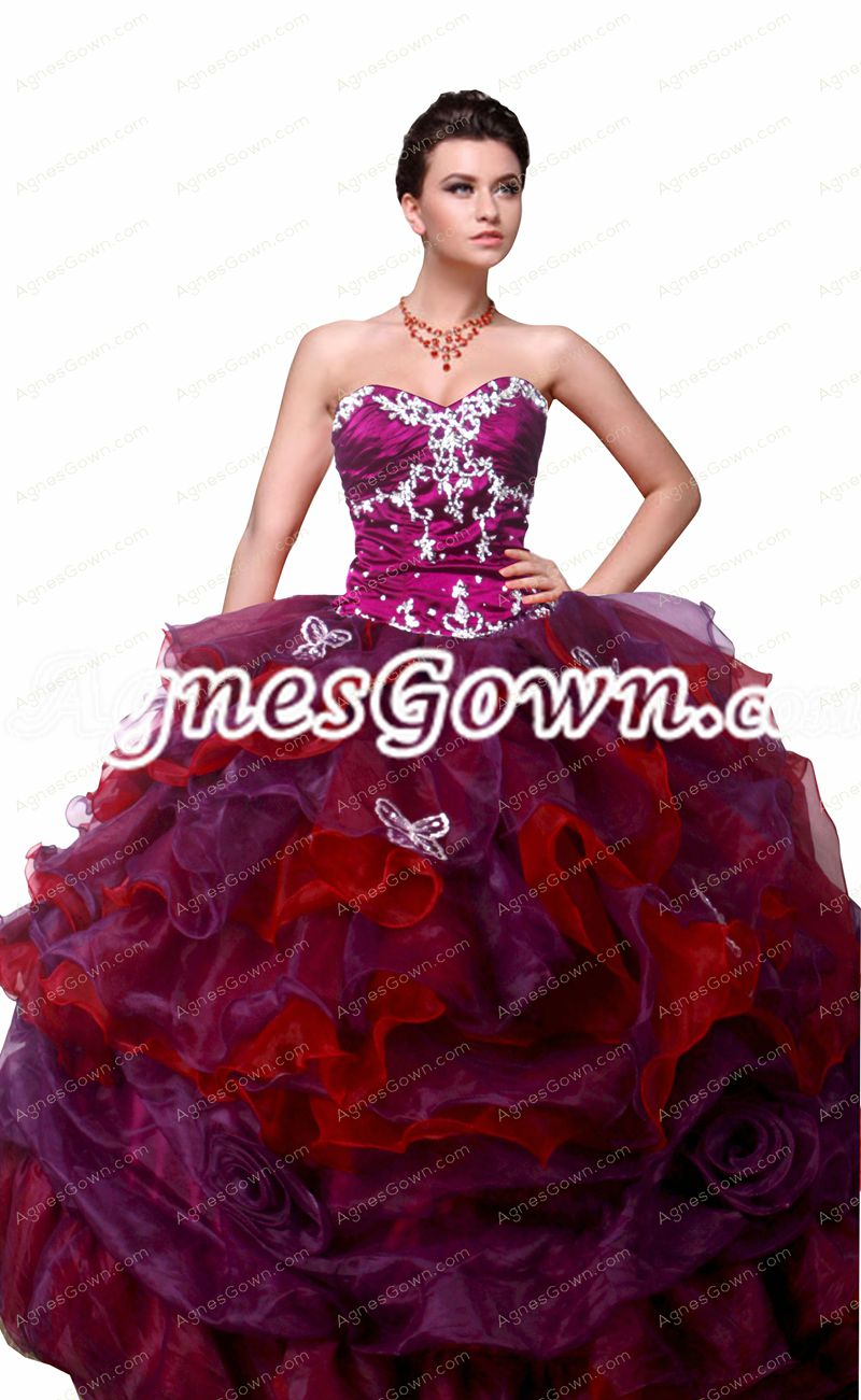 Unique Fuchsia And Red Colorful Quinceanera Dresses