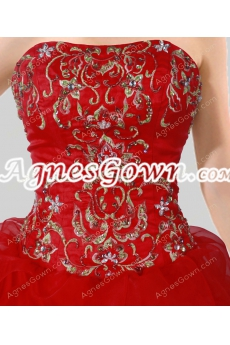 Cute Red Ball Gown Quinceanera Dress With Embroidery