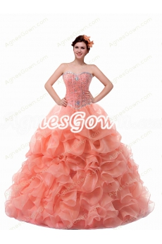 Cute Sweetheart Peach Color Quinceanera Dress With Beaded Bodice