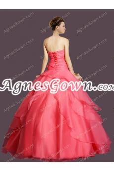 Cute Watermelon Organza Sweet 15 Dress