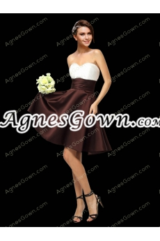 Knee Length Chocolate And White Prom Party Dress
