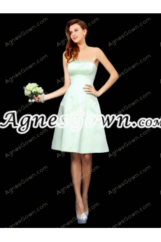Knee Length Sage Colored Satin Bridesmaid Dress