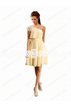 One Shoulder Daffodil Short Bridesmaid Dress
