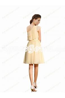 One Shoulder Daffodil Short Bridesmaid Dress