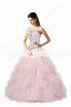 Ruffled Skirt Pearl Pink Quinceanera Dress 2017