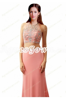 Sexy Two Pieces Peach Chiffon Evening Dresses