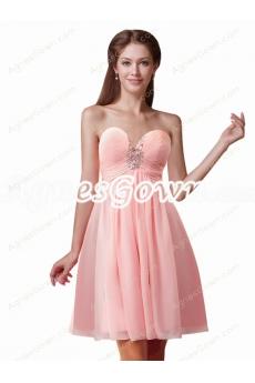 Short Length Peach Colored Maternity Bridesmaid Dress