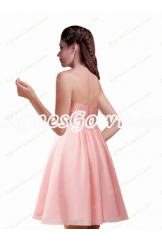 Short Length Peach Colored Maternity Bridesmaid Dress