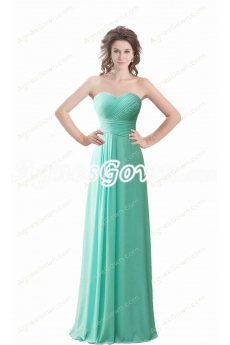 Simple Tiffany Blue Chiffon Bridesmaid Dress