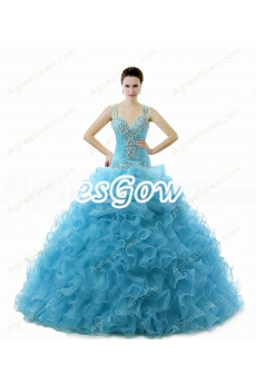Stunning Ball Gown Blue Quinceanera Dress With Rosette
