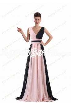 V-Neckline Chiffon Formal Evening Dress