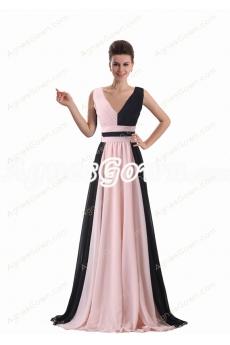V-Neckline Chiffon Formal Evening Dress