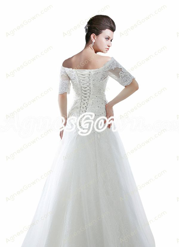 1/2 Sleeves Off The Shoulder Lace Wedding Dress
