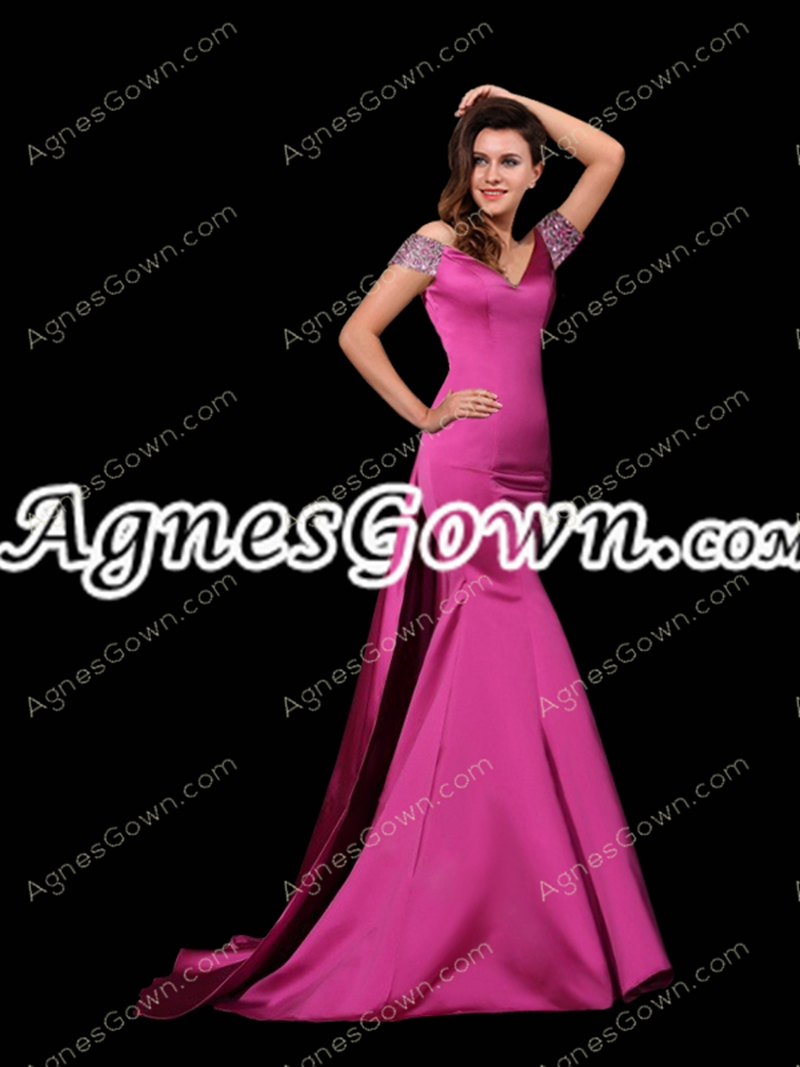 Backless Off Shoulder Fuchsia Mermaid Celebrity Dress