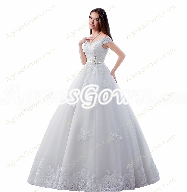 Corset Back Off Shoulder Lace Wedding Dress
