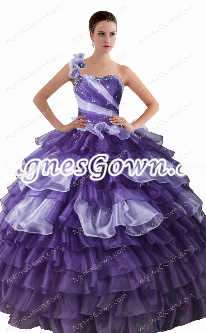 Corset Back One Straps Ball Gown Purple And White Quinceanera Dress