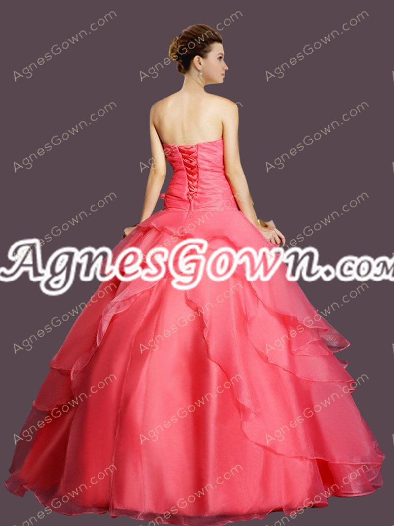 Cute Watermelon Organza Sweet 15 Dress