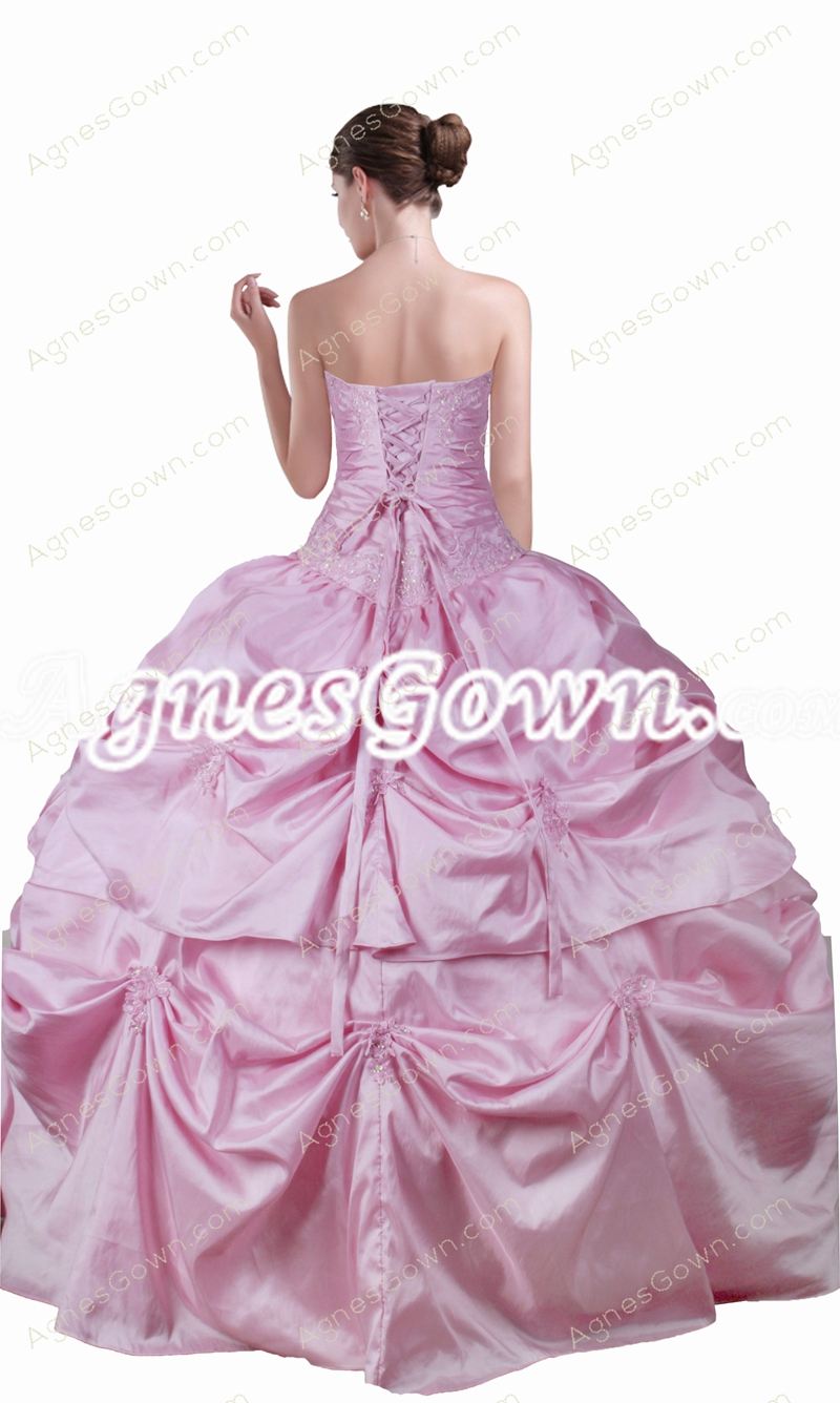 Dropped Waist Pink Quinceanera Dress With Jacket