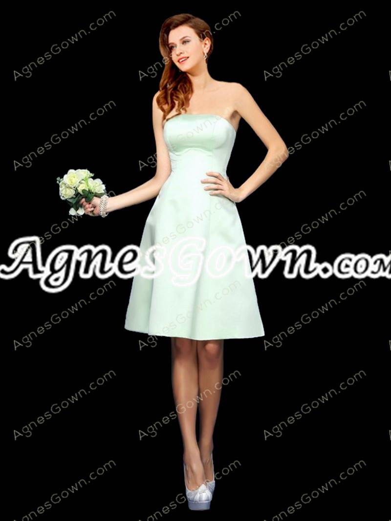 Knee Length Sage Colored Satin Bridesmaid Dress