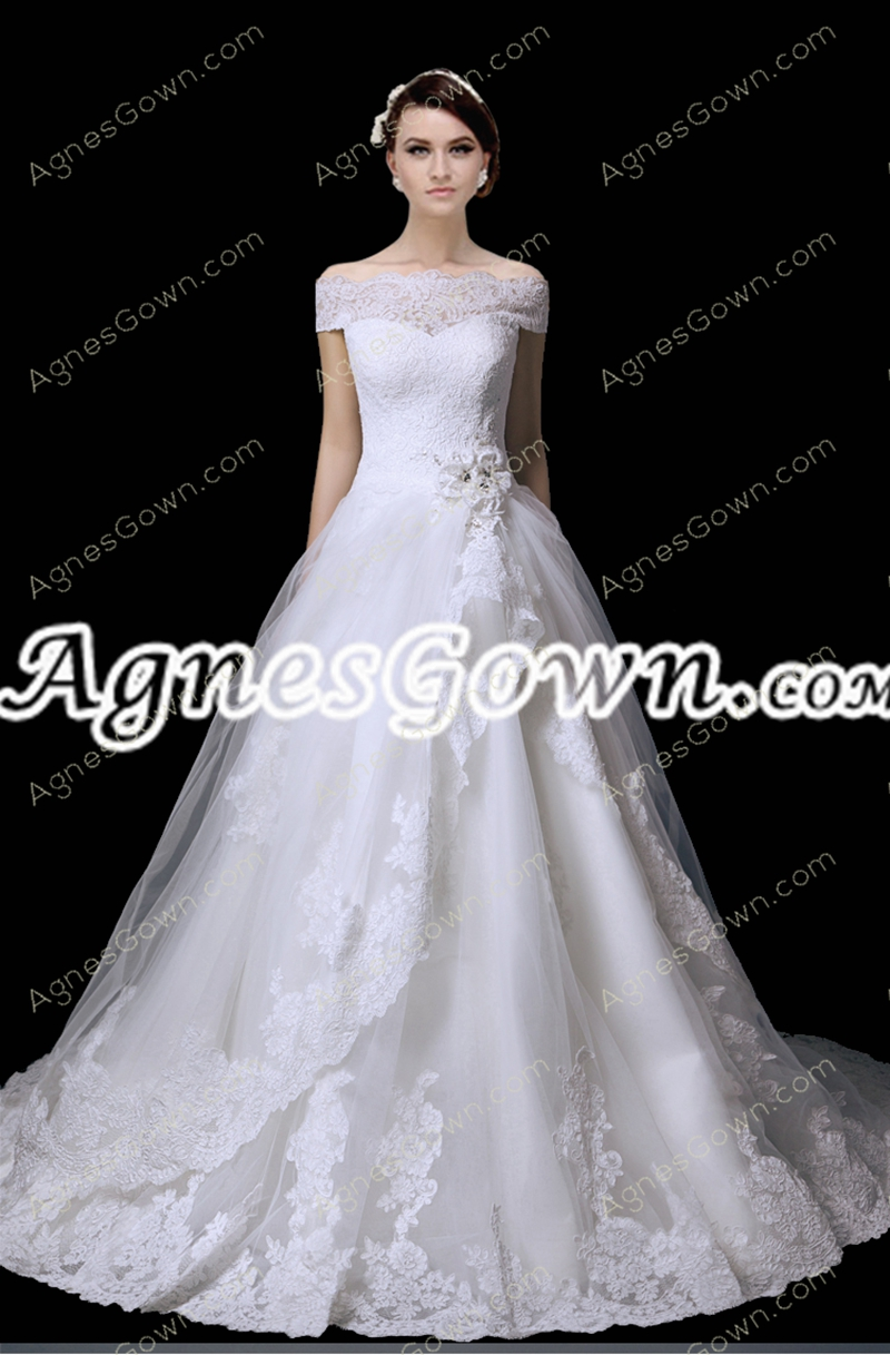 Off Shoulder Bateau Neckline Lace Wedding Dress