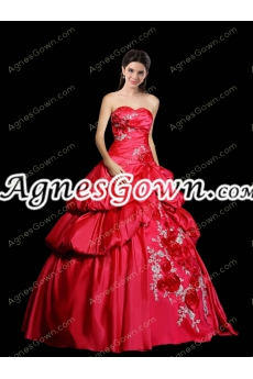 Asymmetrical Waist Red Taffeta Quinceanera Dress