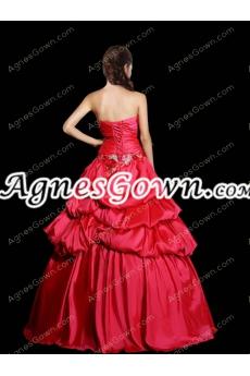 Asymmetrical Waist Red Taffeta Quinceanera Dress