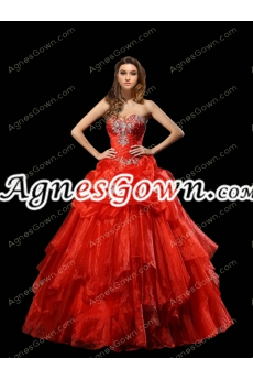 Corset Back Red Organza Ball Gown Quinceanera Dress