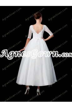 Half Sleeves Tea Length Tutu 1950s Wedding Dress