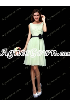 Short Length Sage Colored Chiffon Summer Bridesmaid Dress