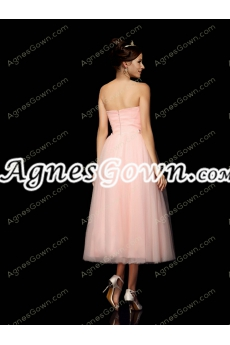 Vintage Tea Length Pink Prom Party Dress With Bowknot