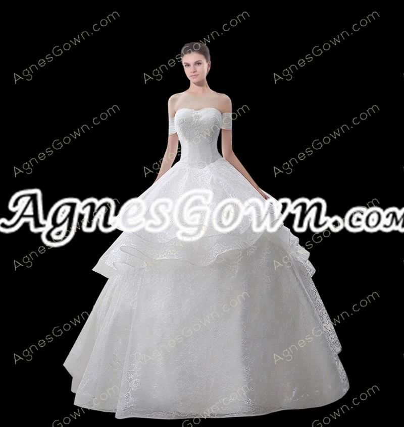 Beautiful Off Shoulder White Ball Gown Sweet 15 Dress Corset Back