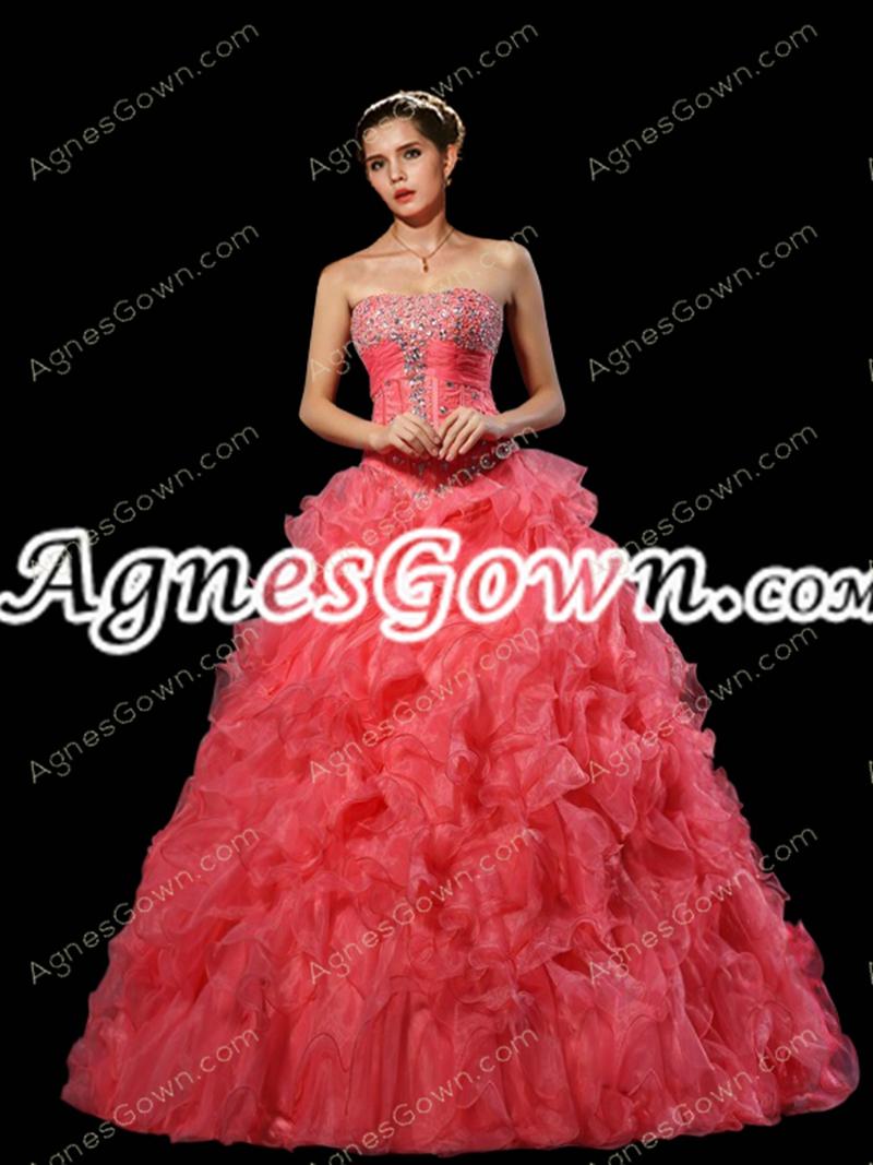 Corset Back Basque Waist Watermelon Quinceanera Dress