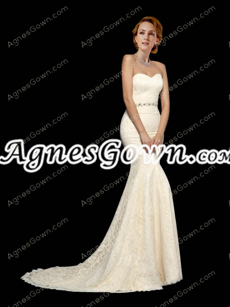 Stunning Ivory Mermaid/Trumpet Lace Wedding Dress