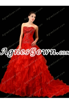 Attractive Red Organza Ball Gown Wedding Dress Corset Back