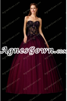 Illusion Design Black And Maroon Quinceanera Dress With Beads