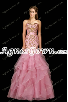 Impressive Pink Organza Mermaid Prom Dress With Gold Sequins