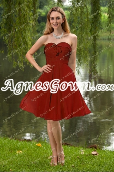 Knee Length Red Chiffon Prom Dress